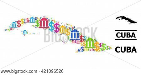 Bright Colored Bank And Commercial Mosaic And Solid Map Of Cuba. Map Of Cuba Vector Mosaic For Busin