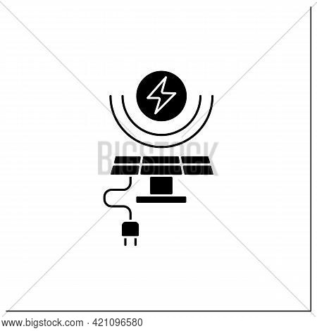 Solar Energy Glyph Icon. Conversion Of Power From Sunlight Into Electricity. Solar Battery. Renewabl