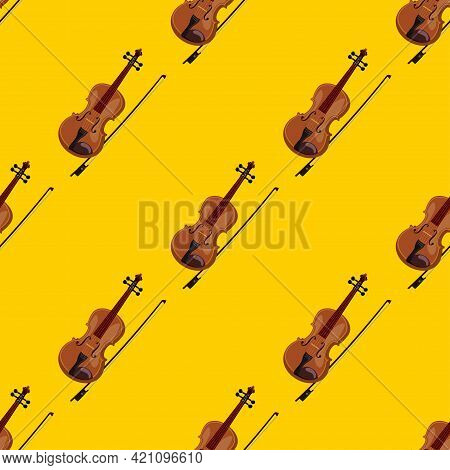 Musical Instrument Violin On A Yellow Background Seamless Pattern. Vector