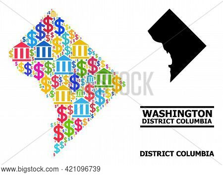 Bright Colored Bank And Money Mosaic And Solid Map Of District Columbia. Map Of District Columbia Ve