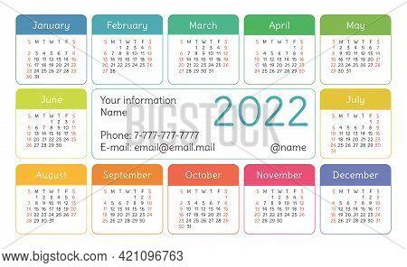 Calendar 2022 Year. English Colorful Vector Horizontal Wall Or Pocket Calender Design Template. New