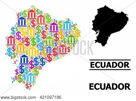 Colorful Bank And Dollar Mosaic And Solid Map Of Ecuador. Map Of Ecuador Vector Mosaic For Promotion