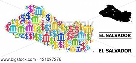 Colored Bank And Commercial Mosaic And Solid Map Of El Salvador. Map Of El Salvador Vector Mosaic Fo