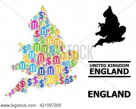 Bright Colored Bank And Dollar Mosaic And Solid Map Of England. Map Of England Vector Mosaic For Bus