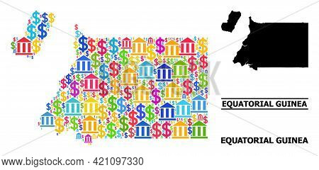 Bright Colored Financial And Dollar Mosaic And Solid Map Of Equatorial Guinea. Map Of Equatorial Gui