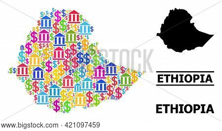 Colored Banking And Dollar Mosaic And Solid Map Of Ethiopia. Map Of Ethiopia Vector Mosaic For Promo