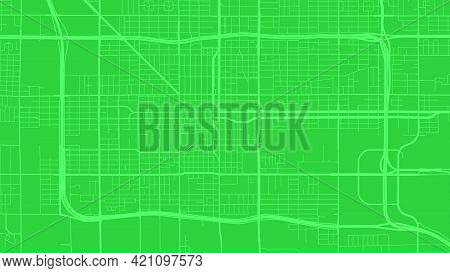 Green Phoenix City Area Vector Background Map, Streets And Water Cartography Illustration. Widescree