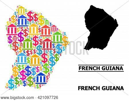 Multicolored Bank And Dollar Mosaic And Solid Map Of French Guiana. Map Of French Guiana Vector Mosa