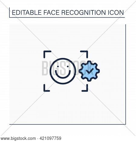 Facial Emotion Recognition Line Icon. Detection Emotional States. Detecting Human Emotions From Faci