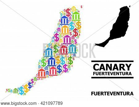 Bright Colored Banking And Commerce Mosaic And Solid Map Of Fuerteventura Island. Map Of Fuerteventu
