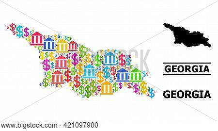 Bright Colored Banking And Dollar Mosaic And Solid Map Of Georgia. Map Of Georgia Vector Mosaic For