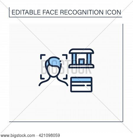Face Recognition Line Icon. Banking App.authentication By Facial Recognition.personal Verification,