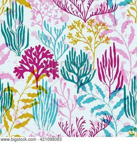 Coral Polyps Seamless Pattern. Kelp Laminaria Seaweed Algae Background. Mediterranean Staghorn And P