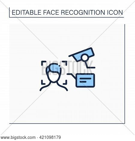 Video Face Recognition Line Icon. Authentication By Facial Recognition.identify Person Using Camera.