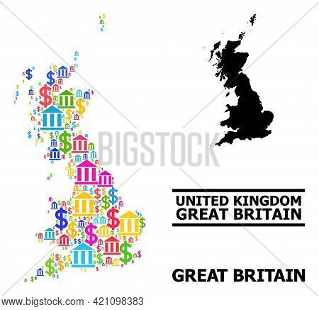 Bright Colored Financial And Dollar Mosaic And Solid Map Of Great Britain. Map Of Great Britain Vect