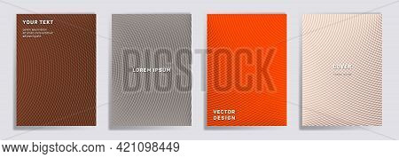 Semicircle Lines Halftone Covers Vector Collection. Abstract Brochure Title Page Layouts. Banners, P