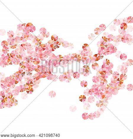 Peach Gold Sequin Confetti Scatter Vector Background. Wedding Invitation Card Background. Circle Shi