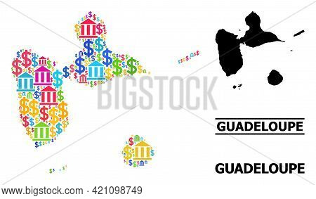 Colorful Bank And Business Mosaic And Solid Map Of Guadeloupe. Map Of Guadeloupe Vector Mosaic For G