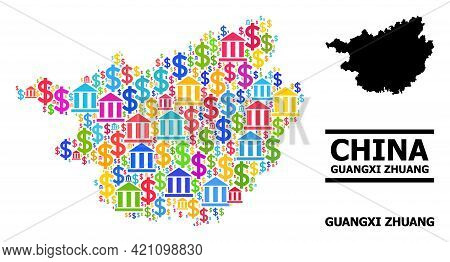 Vibrant Bank And Money Mosaic And Solid Map Of Guangxi Zhuang Region. Map Of Guangxi Zhuang Region V