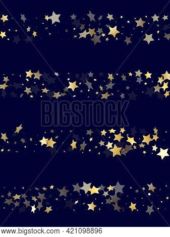 Gold Gradient Star Dust Sparkle Vector Background. Chaotic Gold Star Sparkles Dust Elements On Dark