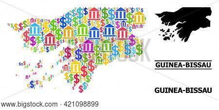 Colored Financial And Dollar Mosaic And Solid Map Of Guinea-bissau. Map Of Guinea-bissau Vector Mosa