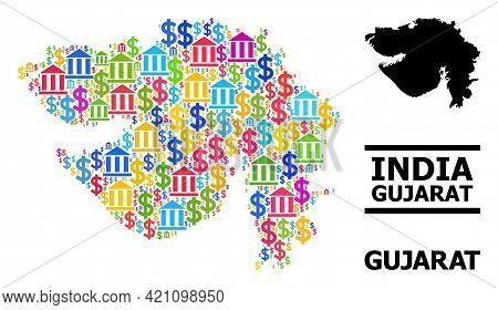 Vibrant Bank And Business Mosaic And Solid Map Of Gujarat State. Map Of Gujarat State Vector Mosaic