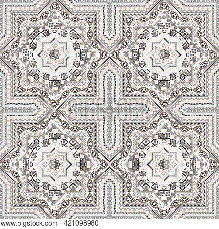 Linear Italian Maiolica Tile Seamless Ornament. Geometric Texture Vector Patchwork. Fabric Print Des