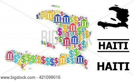 Vibrant Financial And Dollar Mosaic And Solid Map Of Haiti. Map Of Haiti Vector Mosaic For Ads Campa