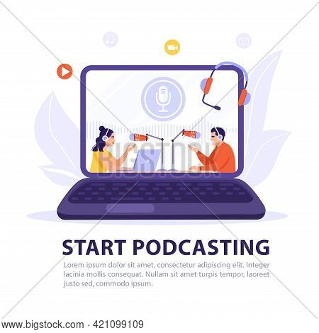 Podcasting, Broadcasting, Online Radio Or Interview Concept. Podcaster Recording Podcast On Computer
