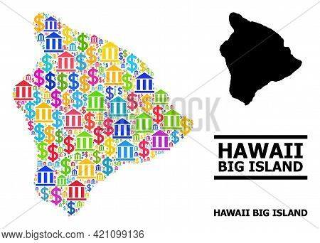 Bright Colored Bank And Business Mosaic And Solid Map Of Hawaii Big Island. Map Of Hawaii Big Island