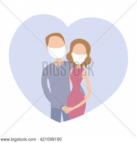 Fiance And Fiancee In Face Masks. Vector Illustration.