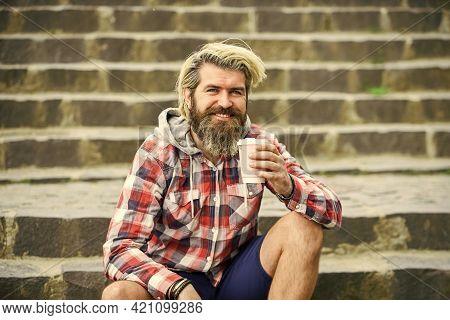 Take Away Coffee. Pure Pleasure. Caffeine Dose. Good Mood. Third Wave Coffee Culture. Man With Beard