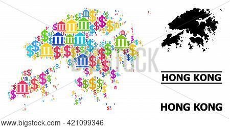 Colored Bank And Dollar Mosaic And Solid Map Of Hong Kong. Map Of Hong Kong Vector Mosaic For Advert