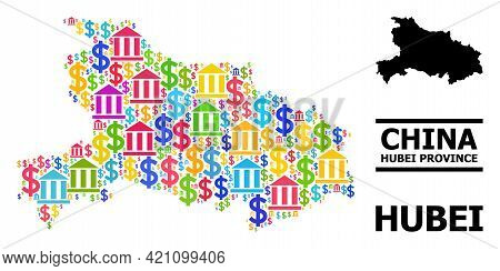 Colorful Bank And Money Mosaic And Solid Map Of Hubei Province. Map Of Hubei Province Vector Mosaic