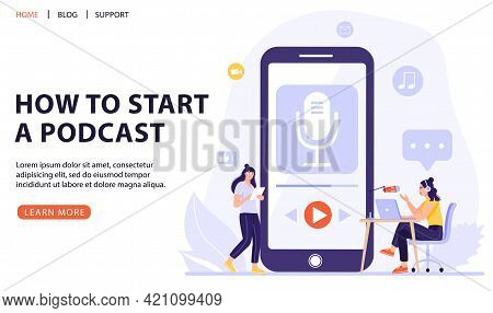 Podcasting, Broadcasting, Online Radio Or Interview Concept. Woman With Big Smart Phone Using Podcas