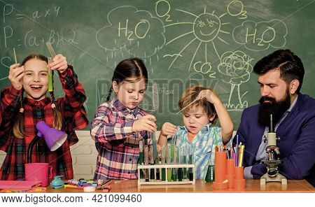 Share Interests Hobbies Talents And Skills. School Club Education. Teacher And Pupils Test Tubes In