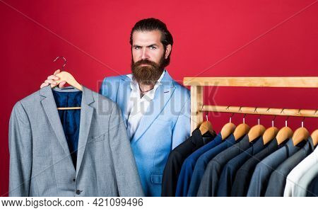 Masculinity And Charisma. Formal Dress Code. Bearded Hipster Use Apparel In Male Atelier. Male Wardr
