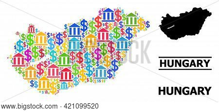 Vibrant Bank And Money Mosaic And Solid Map Of Hungary. Map Of Hungary Vector Mosaic For Gdp Campaig
