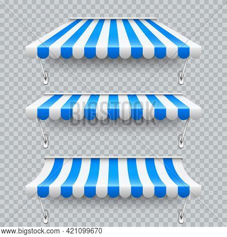 Shop Sunshade With Metal Mount. Realistic Blue Striped Cafe Awning. Outdoor Market Tent. Roof Canopy