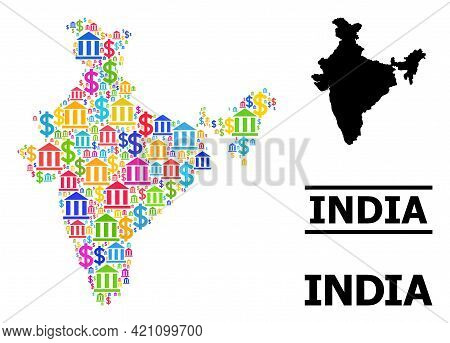 Colorful Bank And Money Mosaic And Solid Map Of India. Map Of India Vector Mosaic For Geographic Cam