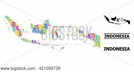 Bright Colored Bank And Dollar Mosaic And Solid Map Of Indonesia. Map Of Indonesia Vector Mosaic For