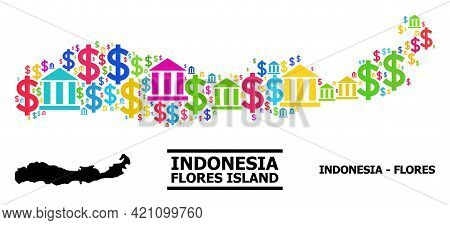 Bright Colored Finance And Money Mosaic And Solid Map Of Indonesia - Flores Island. Map Of Indonesia