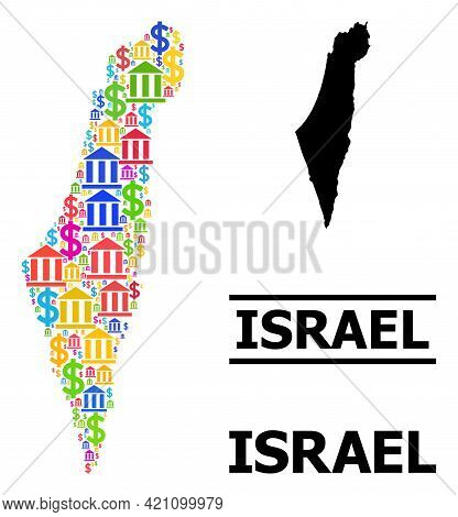 Bright Colored Bank And Business Mosaic And Solid Map Of Israel. Map Of Israel Vector Mosaic For Gdp