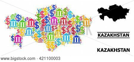 Bright Colored Banking And Money Mosaic And Solid Map Of Kazakhstan. Map Of Kazakhstan Vector Mosaic