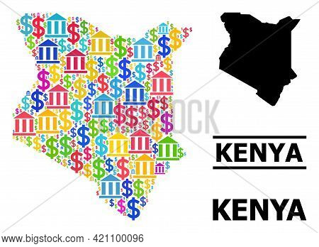 Bright Colored Bank And Business Mosaic And Solid Map Of Kenya. Map Of Kenya Vector Mosaic For Busin