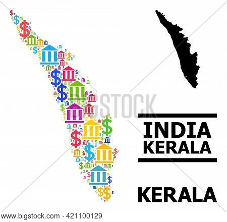 Bright Colored Bank And Commercial Mosaic And Solid Map Of Kerala State. Map Of Kerala State Vector