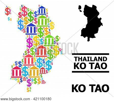 Bright Colored Bank And Economics Mosaic And Solid Map Of Ko Tao. Map Of Ko Tao Vector Mosaic For Pr