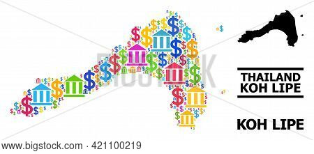 Bright Colored Bank And Economics Mosaic And Solid Map Of Koh Lipe. Map Of Koh Lipe Vector Mosaic Fo