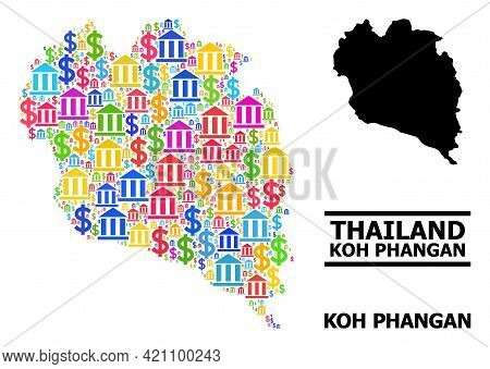 Colored Bank And Commerce Mosaic And Solid Map Of Koh Phangan. Map Of Koh Phangan Vector Mosaic For
