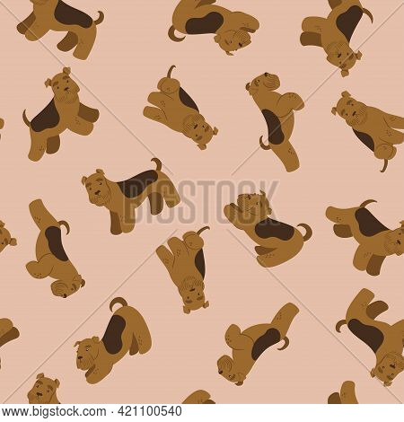 Seamless Pattern With Cute Terriers. Vector Image.